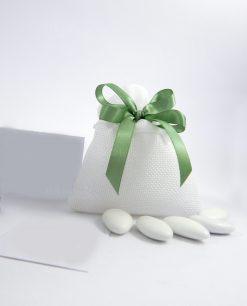 sacchetti portaconfetti trapuntati bianchi confezionati