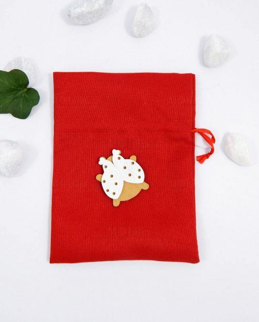 sacchettino in cotone rosso con coccinella in legno per bomboniere