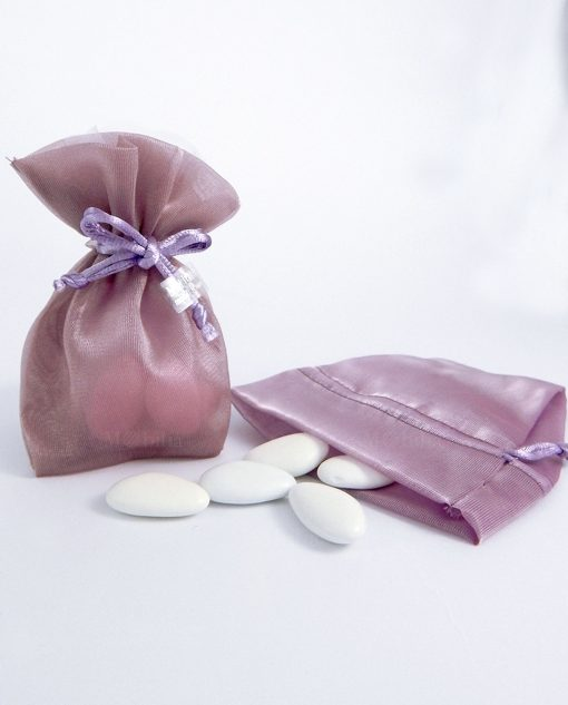 sacchettino portaconfetti seta organza viola