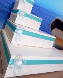 scatola porta bomboniere a forma di torta confezionata