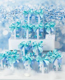 scatolina portaconfetti lego con tappo azzurro fiocco a 4 tiffany