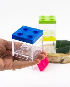 scatolina portaconfetti trasparente lego con tappo blu