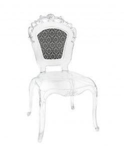 sedia in policarbonato trasparente schienale louis XIV nero baci milano