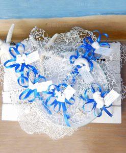 gessetti profumati marini su sacchetto rete e nastro blu con confetti