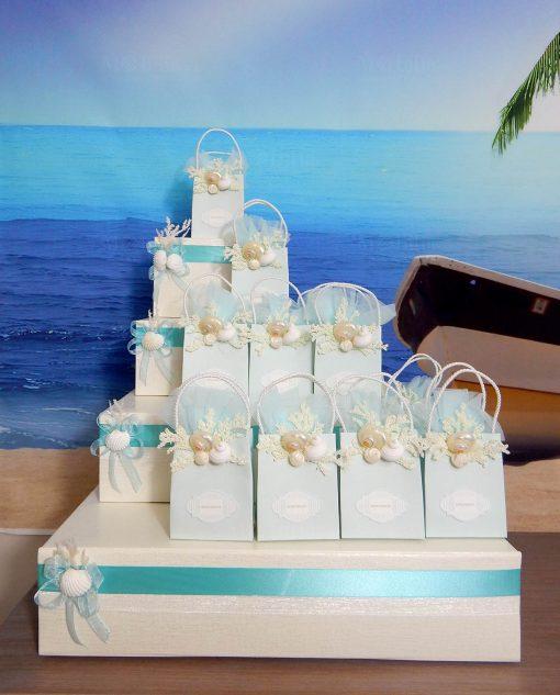 torta porta bomboniere confezionata tema mare