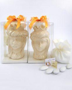 bomboniera coppia teste di moro con corona in ceramica panna di caltagirone