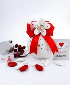 bomboniera natalizia solidale lampada led in porcellana con fiore di confetti di sulmona piccola