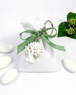 bomboniera portachiavi albero della vita su sacchettino