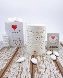 bomboniera solidale cuorematto lampada in porcellana bianca con luce led piccola
