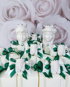 bomboniere artistiche teste di moro in ceramica bianca di caltagirone