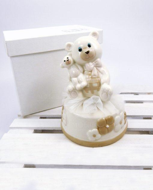carillon orsetto in porcelllana con scatola per bomboniere