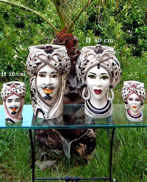ceramica artigianale di caltagirone teste di moro con turbante dipinte a mano