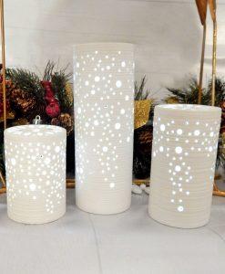 cilindro lampada con luce led in porcellana bianca cuorematto