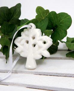 ciondolo albero della vita in porcellana bianca