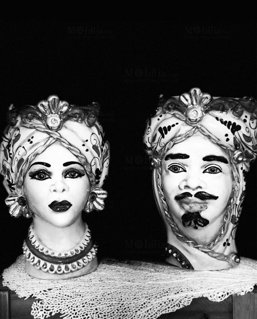 coppia teste di moro artigianali ceramica di caltagirone dettagli oro