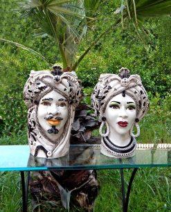 coppia teste di moro ceramica di caltagirone decori neri