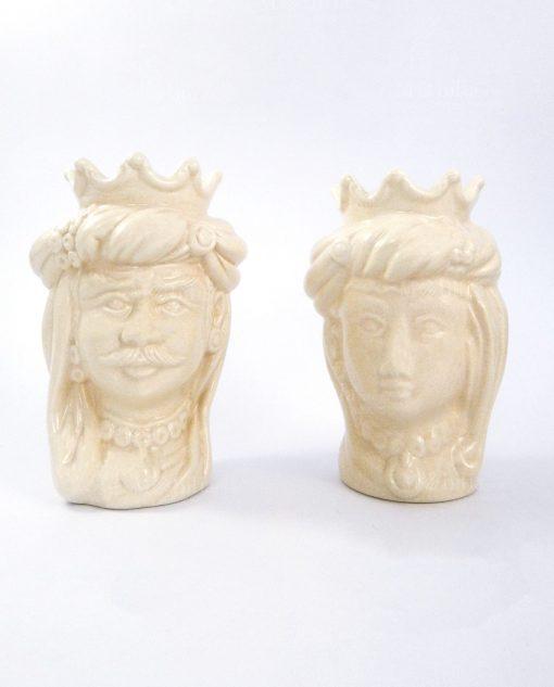 coppia teste di moro con corona ceramica panna di caltagirone
