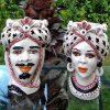 coppia teste di moro con turbante ceramica artistica di caltagirone con decori neri