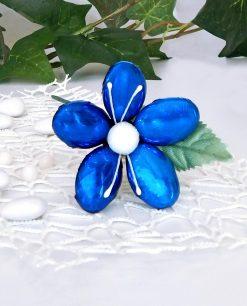 fiore di confetti blu metalizzato con stelo di sulmona