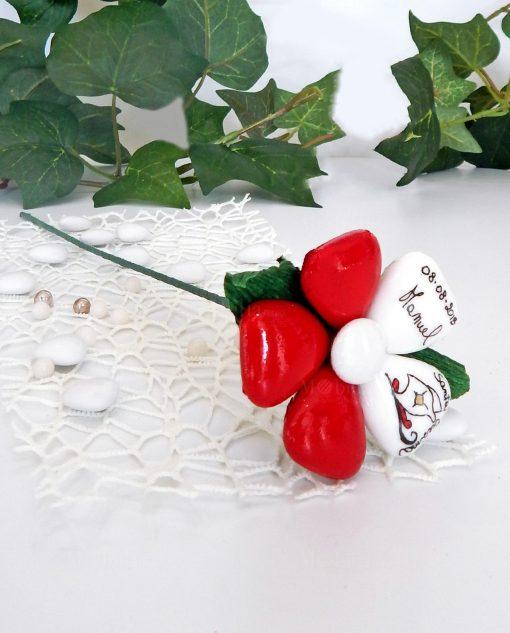fiore di confetti con stelo di sulmona personalizzati
