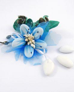 fiore di confetti di sulmona azzurro per bomboniere