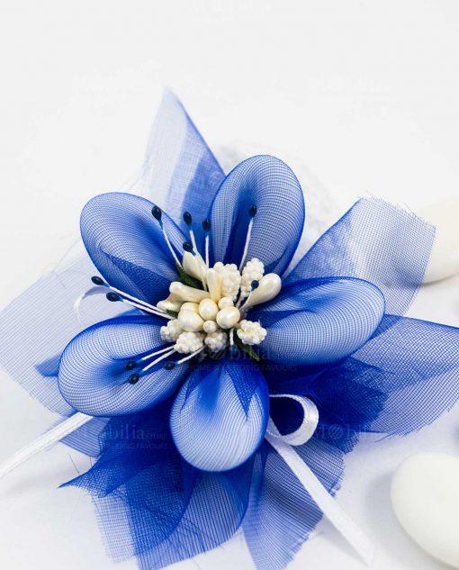 fiore di sulmona blu con nastro bianco