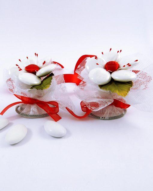 fiore segnaposto di confetti sulmona in organza