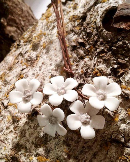 fiori decorativi in porcellana bianca per bomboniere fai da te
