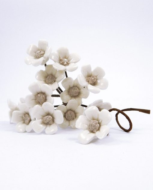 fiori in porcellana con stelo per bomboniere