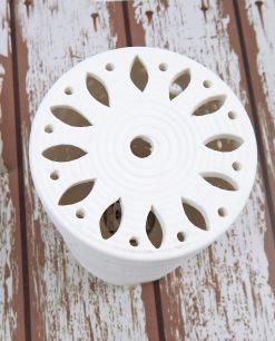 lampada a led cilindrica in porcellana traforata cuorematto