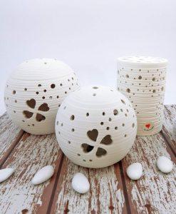 lanterna led in porcellana bianca varie forme cuorematto
