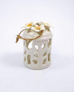 lanterna portacandela in porcellana con fiori