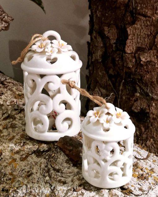 lanterne in porcellana bianca intagliata per bomboniere