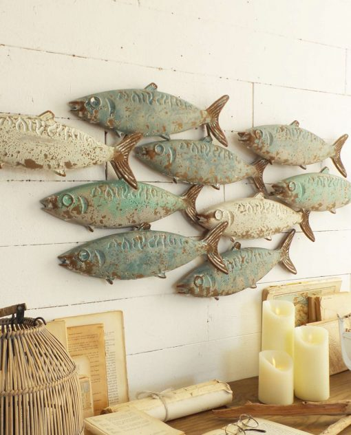 pannelli pesci metallo vintage