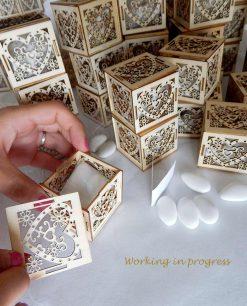 scatoline cuore in legno confezionate