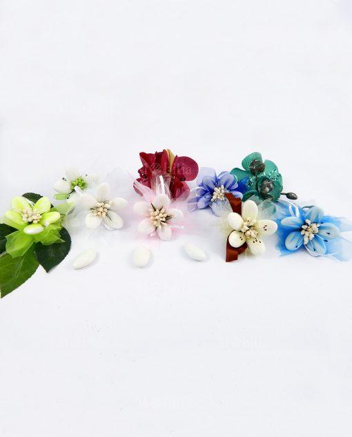 segnaposto fiori di confetti di sulmona nuvoletta in organza