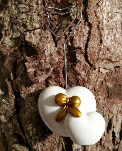 segnaposto memoclip a forma di cuore in porcellana