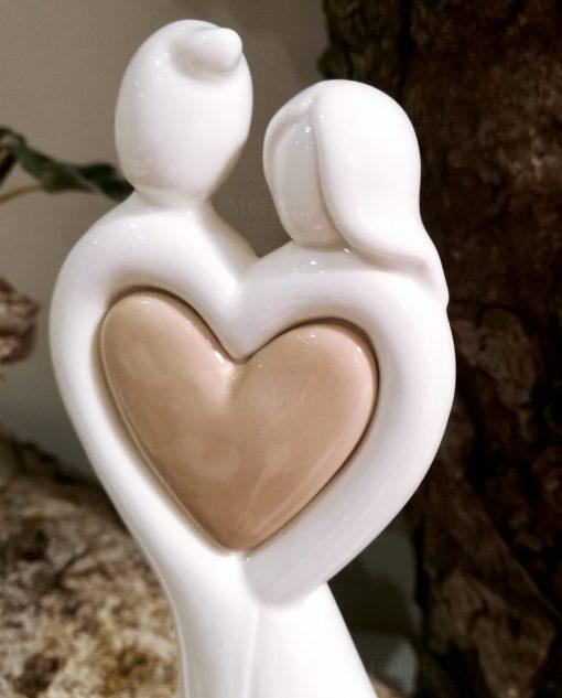 sposini in porcellana bianca con cuore tortora