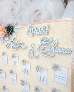 tableau mariage con fiori e cavalieri