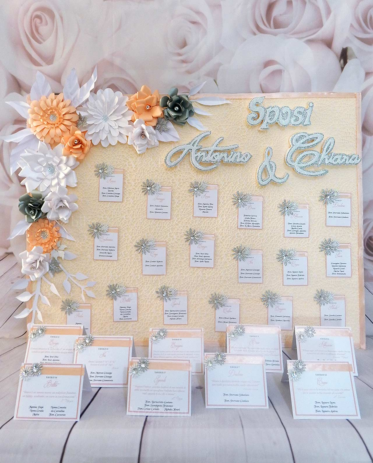 Tableau Matrimonio Azzurro : Tableau mariage con fiori personalizzato