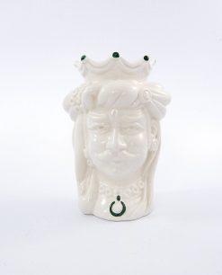 testa di moro re con corona ceramica di caltagirone decori verdi
