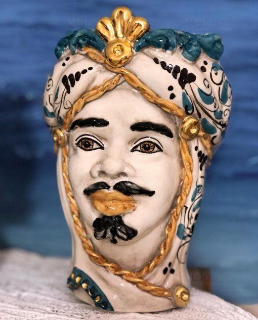 testa di moro re con turbante e dettagli oro zecchino ceramica di caltagirone