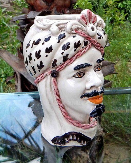testa di moro re decori neri e bordeaux ceramica di caltagirone