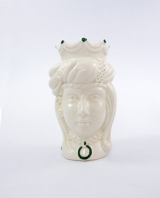 testa di moro regina ceramica bianca di caltagirone con pennellate verdi