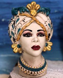 testa di moro regina dettagli oro zecchino ceramica di caltagirone