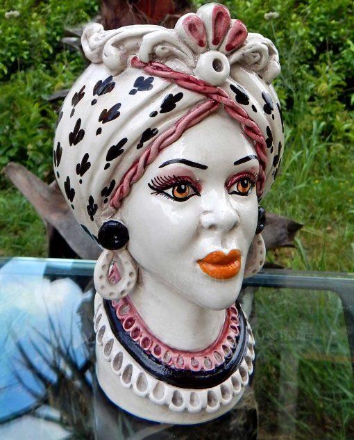 testa di moro regina in ceramica di caltagirone decori neri