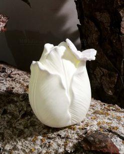 tulipano in porcellana bianca con luce led
