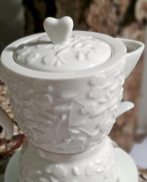 zuccheriera a forma di caffettiera decorata per bomboniere