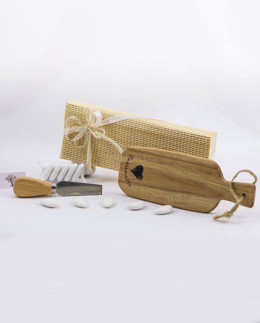Bomboniera tagliere con coltellino da formaggio e scatola Cuorematto