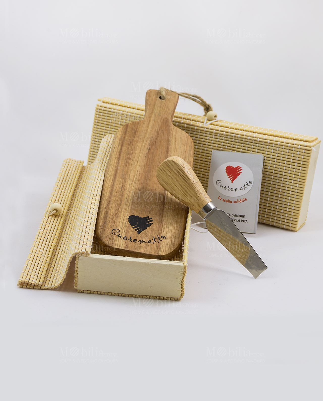 Tagliere legno con coltellino da formaggio e box Cuorematto